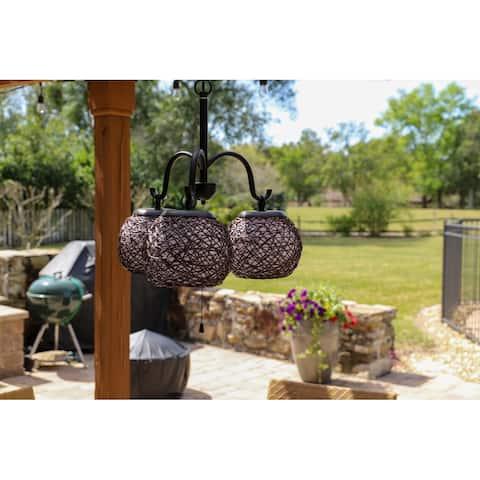 Gardner Blackened Bronze 3-light Outdoor Chandelier
