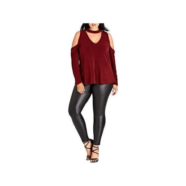 City Chic Womens Plus Pullover Top Cold Shoulder Keyhole