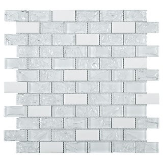 """TileGen. Crushed 1"""" x 2"""" Crackle Glass and Stone Mosaic Tile in White Wall Tile (10 sheets/9.6sqft.)"""