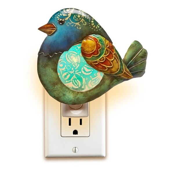 """Pack of 2 Forest Green and Cobalt Blue Capiz Shell Bird with Floral Accent Night Lights 6.5"""""""