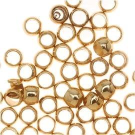 22K Gold Plated Crimp Beads 1.5mm x 2mm (100 Beads)