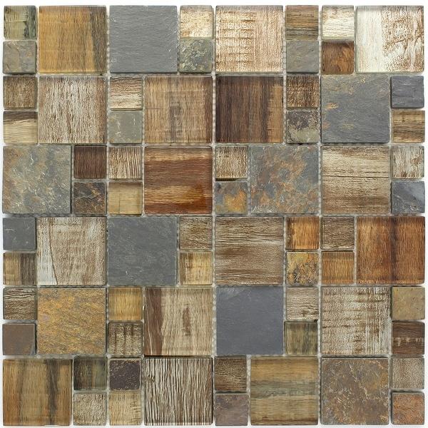 TileGen. Random Sized Glass and Stone Wood Look Tile in Beige/Grey Wall Tile (10 sheets/9.6sqft.)