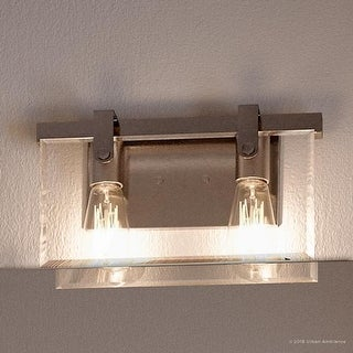 """Link to Luxury Modern Farmhouse Bathroom Vanity Light, 8.38""""H x 14.875""""W, Industrial Chic Style, Brushed Nickel Finish by Urban Ambiance Similar Items in Bathroom Vanity Lights"""