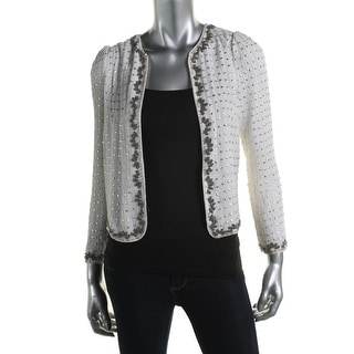 French Connection Womens Open Front Embellished Jacket - 0
