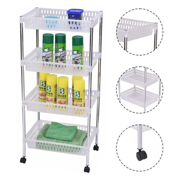 Costway 4 Layers Portable Trolley Cart Thick Serving Medical Instrument With Wheels