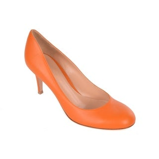Gianvito Rossi Womens Orange Leather Round Toe Pumps