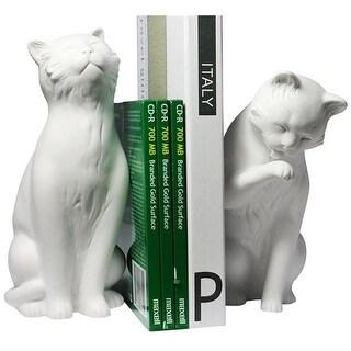 DanyaB NY8022W Cat Bookend Set - White