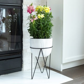 """Link to 12.5"""" H White Patterened Cement Plant Pot in Metal Stand Similar Items in Planters, Hangers & Stands"""