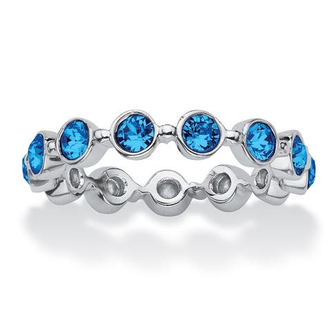 Sterling Silver Simulated Birthstone Eternity Ring