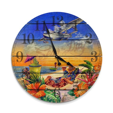 """Seas The Day 30"""" Wood Wall Hanging Clock - Multi-color"""