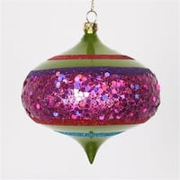 Lime Green And Cerise Pink Shatterproof Christmas Glitter Onion