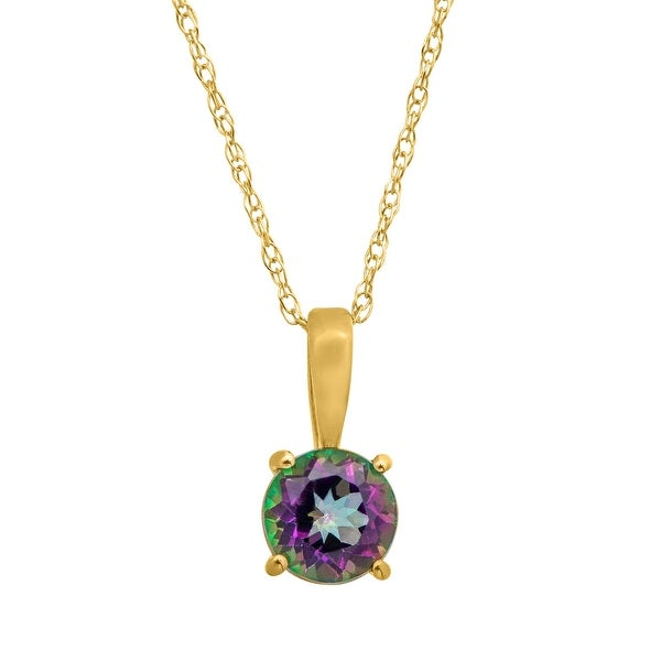 """1/2 ct Natural Green Mystic Topaz Pendant Necklace in 10K Yellow Gold, 16"""""""