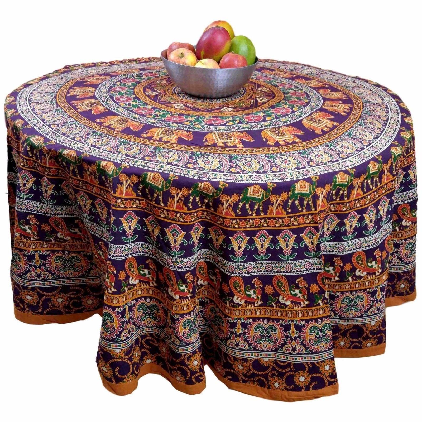 "Handmade 100% Cotton Elephant Mandala Floral 81"" Round Tablecloth Burgundy Mustard - Thumbnail 0"