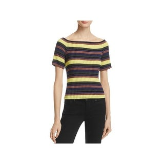 Splendid Womens Casual Top Striped Ribbed