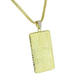 Mens One Hundred Dollar Bill Pendant $100 Note Yellow Gold Tone Franco Necklace