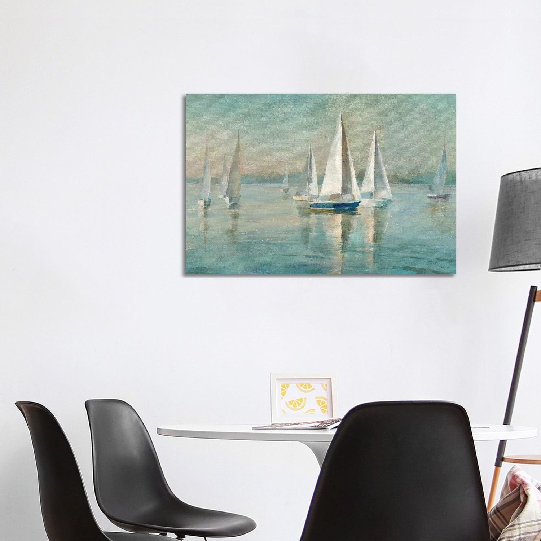 Sailing Home Decor Sailboats at Sunrise Canvas Wall Art Print