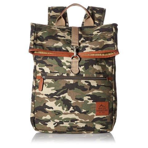 Buxton Men's Expedition II Huntington Gear Fold-Over Canvas Backpack CAMO