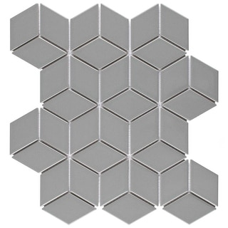 Link to SomerTile 10.5 x 12.125-Inch Victorian Rhombus Glossy Light Grey Porcelain Mosaic Floor and Wall Tile (10 Tiles/9.04 sqft.) Similar Items in Tile