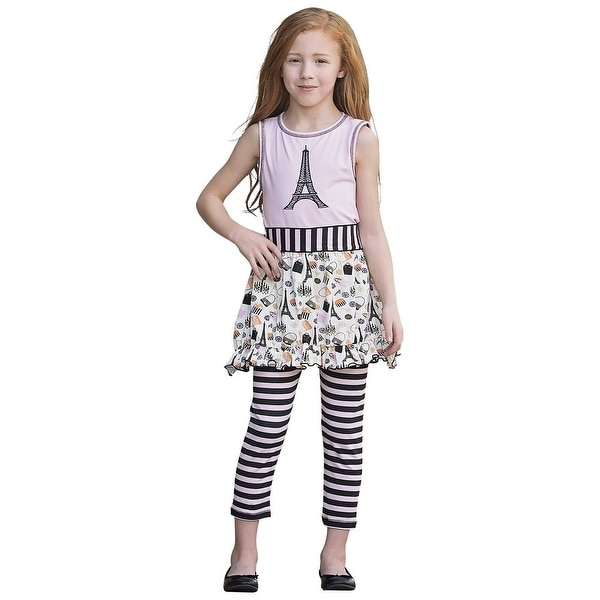 AnnLoren Baby Girls Black Stripe Paris Eiffel Tour Dress Legging Outfit