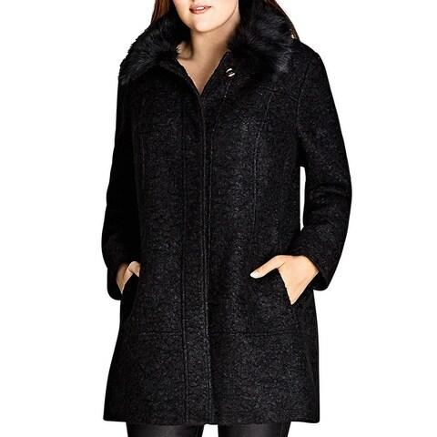 City Chic Womens Plus Midi Coat Fall Warm