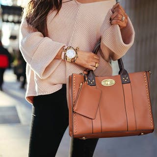Women Tote Purses Handbags Studded Top Handle Satchel Bag Wallet 3PCs Set