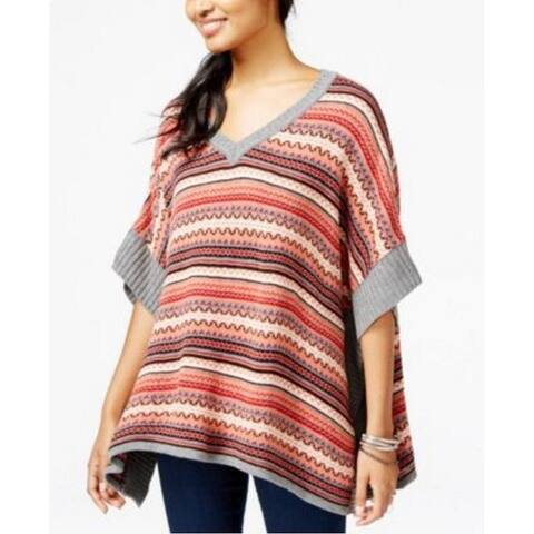 Freshman Junior's Striped V-Neck Poncho Sweater, XS