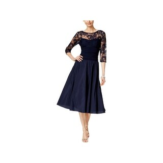 Jessica Howard Womens Cocktail Dress Lace Illusion