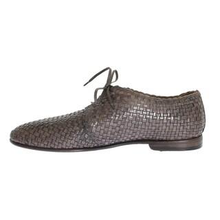 Dolce & Gabbana Beige Woven Leather Dress Formal Shoes - eu44-us11