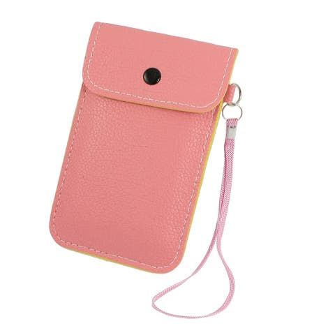 Unique Bargains Press Button Closure Faux Leather Pouch Bag Pink w Wrist Strap