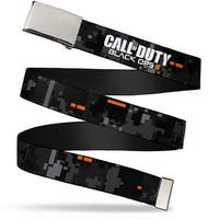 "Blank Chrome 1.0"" Buckle Call Of Duty Black Ops Iii Digital Camo Grays Web Belt 1.0"" Wide - S"