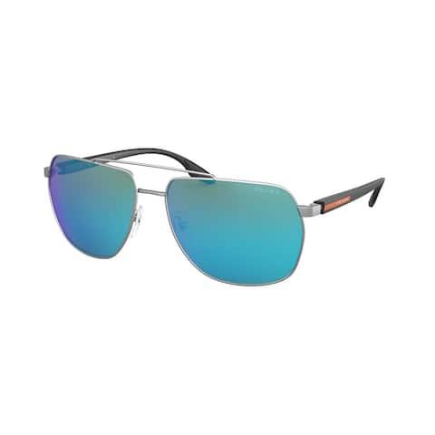 Prada Linea Rossa PS 55VS 7CQ5M2 59 Matte Gunmetal Man Irregular Sunglasses