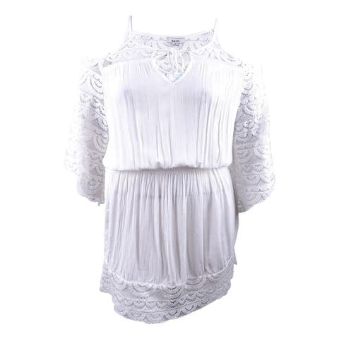 Raviya Women's Plus Size Lace-Insert Cold-Shoulder Dress Cover-Up (0X, White) - White - 0X