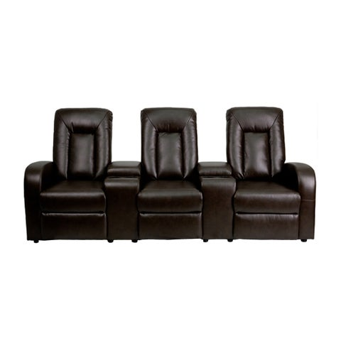Offex Brown Leather 3-Seat Home Theater Recliner With Storage Consoles