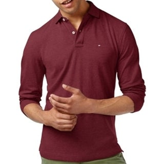Tommy Hilfiger NEW Heather Red Mens 3XL Long Sleeve Polo Rugby Shirt