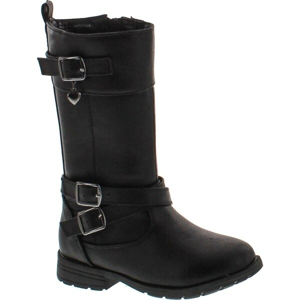 Little Angel Gianna-792 Kid Girls Leatherette Buckle Round Toe Riding Boots - Black