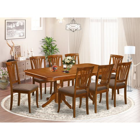 9-piece Dining Room Set Includes Oval Table and 8 Kitchen Chairs in Saddle Brown Finish (Chairs Option)