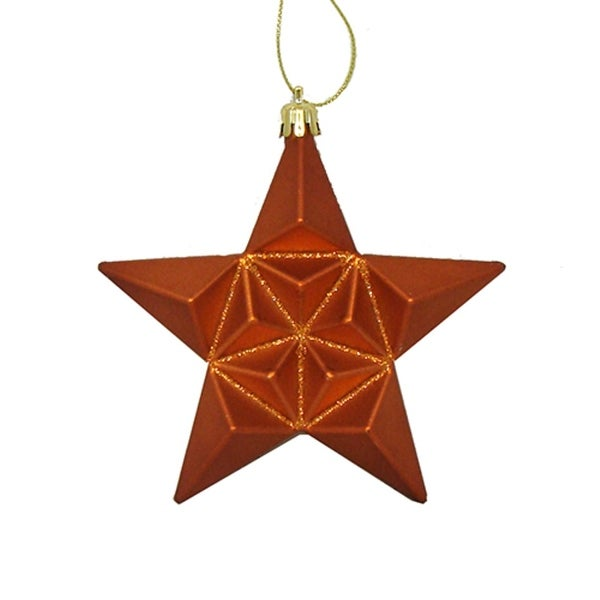 12ct Matte Burnt Orange Glittered Star Shatterproof Christmas Ornaments 5""