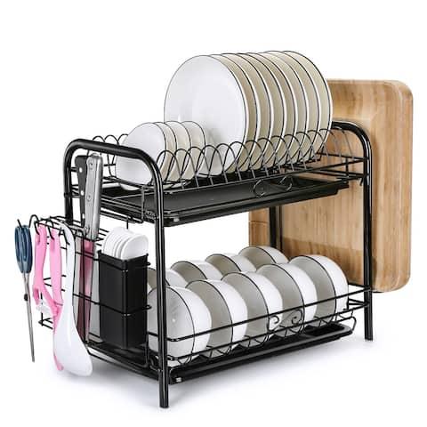 Large Capacity Dish Rack 2 Tier w/ Utensil Holder Drainer Drying Kitchen Storage - L