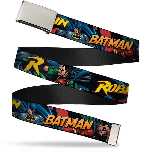 Blank Chrome Buckle Batman & Robin In Action W Text Burgundy Webbing Web Belt
