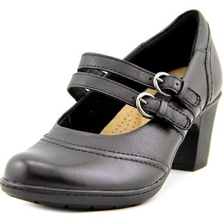 Earth Origins Bobby Women Round Toe Leather Black Mary Janes