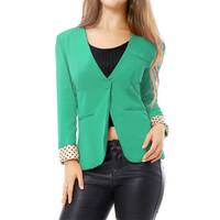 Allegra K Women Deep V Neck Long Sleeves One Button Blazer