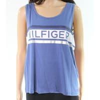 Tommy Hilfiger Blue Printed Womens Size XL Logo Print Tank Cami Top