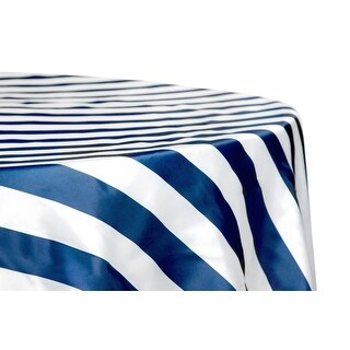 "12 Pieces, Stripe 132"" Satin Round Tablecloth Approx. 132"" diameter with two side seams; Edge: Serged - Navy Blue & White"