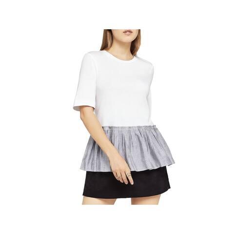 BCBGeneration Womens Peplum Top Pleated Short Sleeves