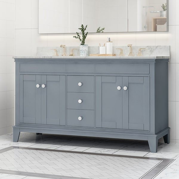 Feldspar 60'' Wood Double Sink Bathroom Vanity with Carrera Marble Top by Christopher Knight Home. Opens flyout.