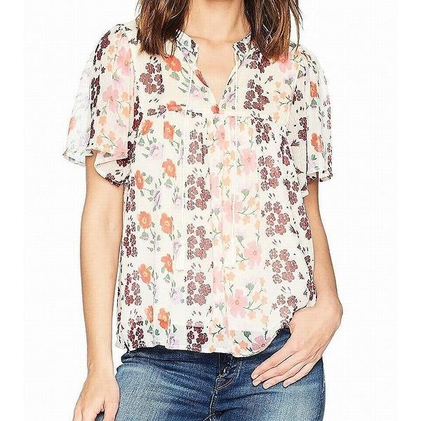0bdfa9f3def46f Shop Lucky Brand White Floral Print Sheer Tie-Neck Women s XL Blouse ...