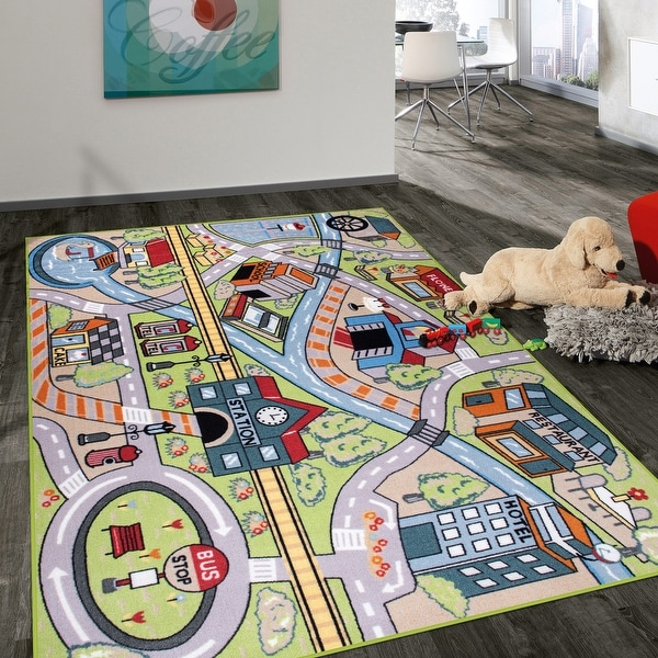Kids Educational Learning Road Traffic System Non Slip Area Rug. Opens flyout.