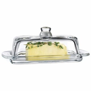 Tablesetter Clear Glass Butter Dish with Knob - By Home Essentials
