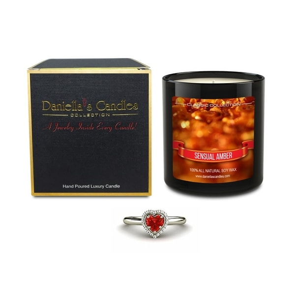 Daniella's Candles Sensual Amber Jewelry Candle, Ring Size 9