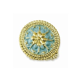 Goldtone Teal Enamel Stretch Ring